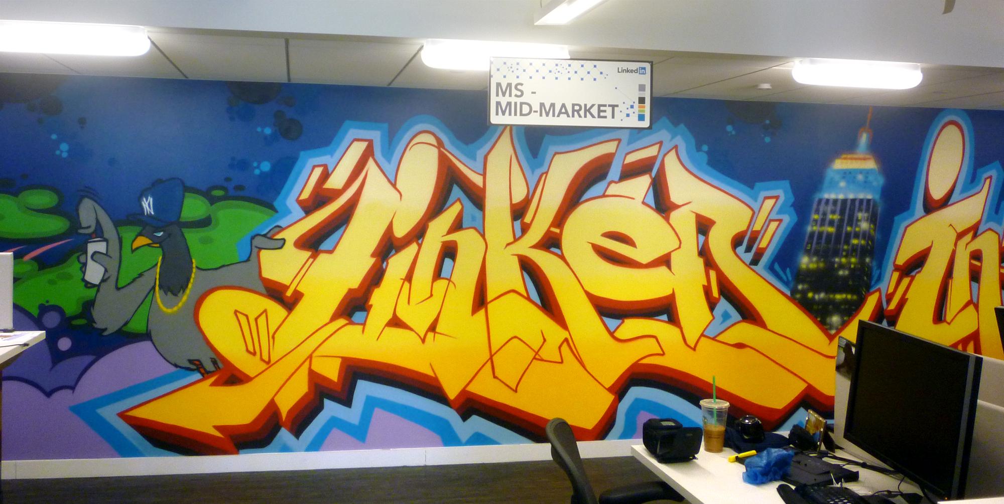 LinkedIn office graffiti mural graffiti artist for hire